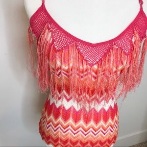 Marciano pink and orange fringe top